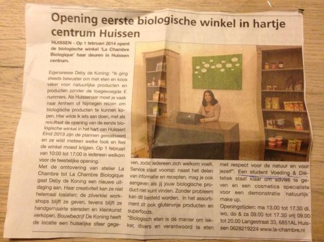 Opening La Chambre Biologique